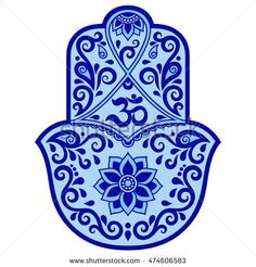 Color vector hamsa hand drawn symbol. OM symbol.