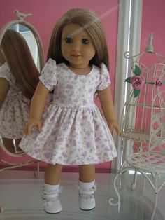 Fancy Easter/Spring Dress made to fit  18 inch American Girl Doll Purple/Lilac Floral  (E). $18.95, via Etsy.