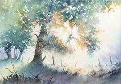 Tree (Watercolour) - by Joël Simon Watercolor Trees, Watercolor Landscape, Watercolor And Ink, Watercolour Painting, Landscape Art, Painting & Drawing, Landscape Paintings, Bird Paintings, Indian Paintings
