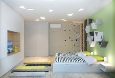modern kids room with wooden accent