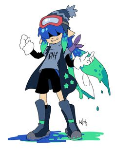 "axl-fox: "" So I tried out the squid fusion thing? What do you get from fusing a shy squid with social anciety problems with a short-tempered squid who always want to fight? Prolly a mess, but Im sure they can work it out. Their name is Teriyaki btw """