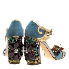 Ankle Straps, Ankle Strap Sandals, Crazy Shoes, Me Too Shoes, Blue Gold, Metallic Gold, Dolce And Gabbana Blue, Embellished Heels, Kelly Bag