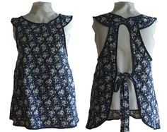 Plus Size  Apron Navy with Creamy White Roses by timelessaprons, $55.00