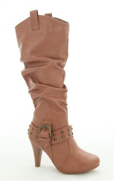Deb Shops Tall High Heel #Boot with Studded Strap at Ankle $35.17