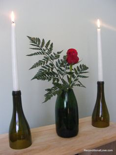 A personal favorite from my Etsy shop https://www.etsy.com/listing/179730453/olive-green-set-of-2-wine-bottle-candle