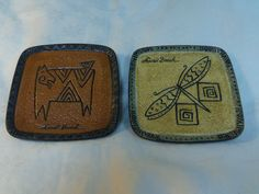 Laurel Burch for Bella Casa Folk Cat and Dragonfly Plates 5  square