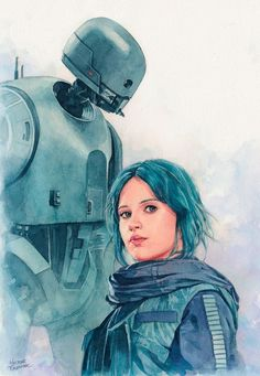 """Jyn Erso and K-2so watercolor"" by Trunnec (Hector Trunnec) @DeviantArt"