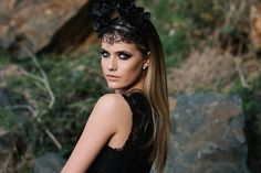 Strong, Empowered Dark Forrest Queens – The vision of this styled shoot by Cat Elizabeth Artistry. Dark Forrest, Wedding Hair Inspiration, Bridesmaid Hair, Flower Crown, Ponytail, Bridal Hair, Veil, Wedding Hairstyles, Curls