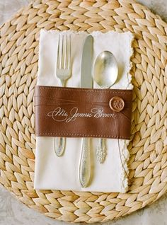 Rustic place setting for wedding table decor #leather #engraved #silverware  Photo by: Jose Villa on Engaged & Inspired