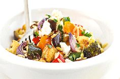 Roasted vegetable salad with orzo