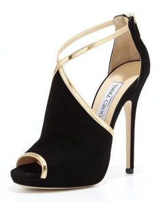 WANT!!!!!! Fey Peep-Toe Suede Sandal, Black/Gold by Jimmy Choo at Bergdorf Goodman.