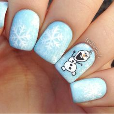 Olaf Nail Art Winter Designs Holiday Nails Christmas