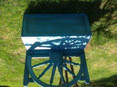 Bench made from two headboards Painted  with milk paint