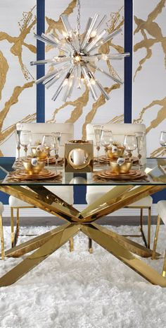 Estella Dining, Z Gallerie Gold table decor