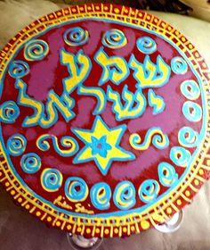 Shema Yisroel burgandy and blue  10 inch by SefinotMiRivkaSari