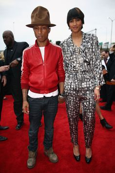 Pharell and Helen Lasichanh at the Grammys 2014