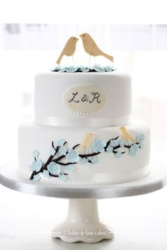 Love Birds & Blue Cherry Blossoms by Bake-a-boo Cakes NZ