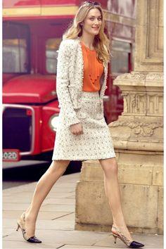 orange top - ivory blazer - ivory skirt