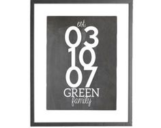 """PERSONALIZED - Chalkboard Family Established Date - 8""""x10"""" Printable Art"""