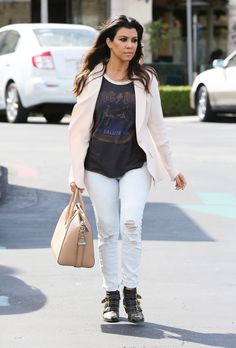 Kourtney Kardashian wearing Givenchy Antigona tote Chloe Suzanna Booties Black Orchid Zipper Ankle Skinny Jean Junk Food AC/DC Raglan