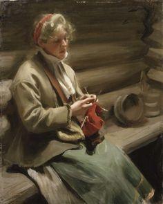 Anders Leonard Zorn (1860-1920) Stickande kulla/Girl Knitting [1901] Nationalmuseum, Stockholm - Oil on canvas, 57 x 72 cm Love Knitting, Knitting Needles, Knitting Patterns, Knit Art, Female Art, Les Oeuvres, Painting & Drawing, Folk Art, Oil On Canvas