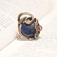 Lapis Lazuli Ring Copper ring Copper Jewelry Statement | Etsy Lapis Lazuli Jewelry, Lapis Lazuli Pendant, Copper Wire Jewelry, Gemstone Jewelry, Copper Anniversary Gifts, Copper Gifts, Wire Wrapped Rings, Wire Rings, Handmade Jewelry
