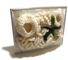 Cool fiber sculpture! Mother of Pearl Framed Crochet Coral Reef Fiber Art by AddSomeStitches, $45.00