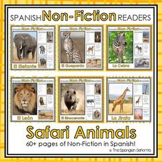 Safari Animals Non-Fiction Spanish Readers  These Spanish Non-Fiction Readers were created to build student background knowledge and vocabulary, while maintaining simple easy-to-follow text for readers beginning to read.   Keywords: Safari Animals, Animales del Safari, Spanish Emergent, Guided Reading Books, Spanish Books, Libros de la Lectura Guiada, Libros de No-Ficción, Non-Fiction Books
