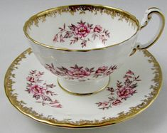 Aynsley Tea Cup and Saucer with Pink Flowers and Gold Border, Vintage Tea Cup, Bone China