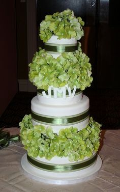 wedding ideas green hydrangea cake with green AND blue?
