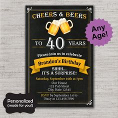 Cheers and Beers to 40 years invite,21st,30th,40th,50th,60th,JPG file,Birthday Invite,40th Birthday,30th Birthday,50th Birthday,DPP280