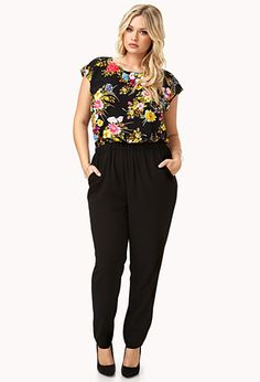 Forever 21 Plus Size Black Multi Color Garden Goddess Floral Jumpsuit Curvy Girl Fashion, Work Fashion, Plus Size Fashion, Casual Outfits, Cute Outfits, Fashion Outfits, Womens Fashion, Look Plus Size, Plus Size Women