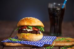 Homemade burger with beef pate recipe. With crispy bacon, blue cheese and honey-mustard sauce. It is my guilty pleasure!
