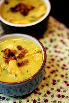 Sopa de batata-doce com gengibre frango e bacon