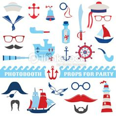 Nautical Party Set Photobooth Props Vector Art 464574875