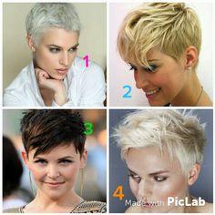 1-4 Pixie Cuts, Short Hair Cuts, Homemade Mocha Frappe, Pink Haircut, Blonde Curls, Short Hairstyle, Pixies, Fine Hair, Hair Goals