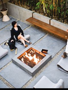 Fire pit and tile gravel terrace