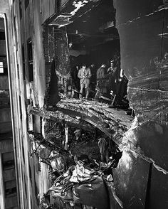 1945. Damage to the Empire State Building from a B-25 bomber collision. #EmpireStateBuilding #skyscraper #damage #NewYork #NY #crash #collision #B25 #aircraft #accident #historyinpictures #historicalpix