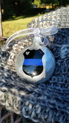 Excited to share the latest addition to my #etsy shop: Thin blue line, police gift, police wife, police officer gift, police ornament, thin blue line ornament, glass ornament, glitter ornament