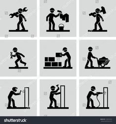 Find Man People Working Construction Carrying Building Industry Painting Sawing Hard Labor Pictogram Icon Symbol Sign Stock Images in HD and millions of other royalty-free stock photos, illustrations, and vectors in the Shutterstock collection. Woodworking For Dummies, Woodworking Software, Woodworking School, Woodworking For Kids, Woodworking Logo, Woodworking Classes, Handyman Logo, House Drawing, Construction Worker