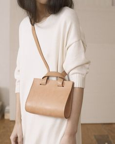 Lauren Manoogian Small Sling Bag on Garmentory Small Leather Bag, Tan Leather, Small Leather Goods, Leather Workshop, Trendy Handbags, Leather Design, Vegetable Tanned Leather, Small Bags, Bag Sale