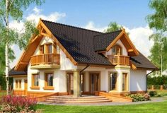 Description House with attic, intended for family.On the ground floor there is a spacious living room open to the. 20 M2, Modern Bungalow House, Home Design Floor Plans, Simple House Design, Loft Room, Spacious Living Room, Facade House, Design Case, Cottage Homes
