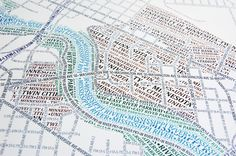 Typographic Maps. his map accurately depicts downtown Minneapolis and surrounding neighborhoods using nothing but type. Every single piece of type was manually placed, a process that took hundreds of hours to complete.