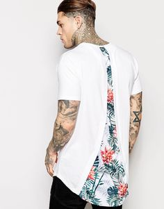 SikSilk Longline T-Shirt With Curved Hem And Split Back Detail
