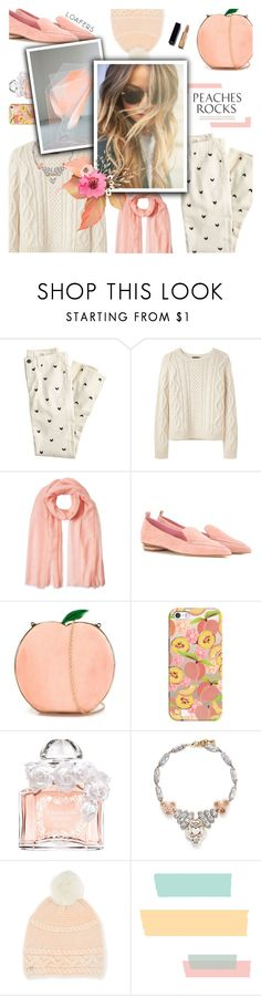 """""""Rich in Peach"""" by r-maggie ❤ liked on Polyvore featuring J.Crew, A.P.C., Agnona, Nicholas Kirkwood, Charlotte Olympia, Casetify, Guerlain, Lulu Frost and UGG"""