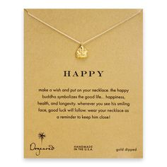 happy buddha necklace, gold dipped - Dogeared