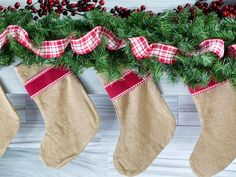 Natural Burlap Stockings - One Mantel Styled Three Ways for the Holidays on HGTV