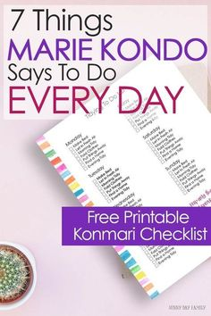 Easy things you can do EVERY DAY to keep your home tidy, inspired by Marie Kondo's Konmari method. Even if you haven't decluttered your home yet these tips will make your home feel more clean and organized. Includes a free printable Konmari checklist that fits Happy Planner and more! #declutter #planner #mariekondo #konmari #organizedhome