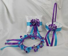 Customizable Purple Turquoise Wedding Accessories Bridal Ring Bearer Pillow Flower Girl Basket Halo  Custom Made Any Colors