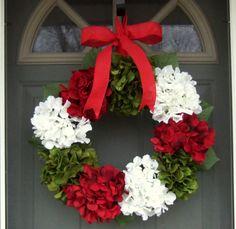 Holiday Wreath, Christmas Wreath, Winter Wreath, Frontdoor Wreaths, Holiday Home Decor, Hydrangeas, Hydrangea Wreaths. $44.00, via Etsy.